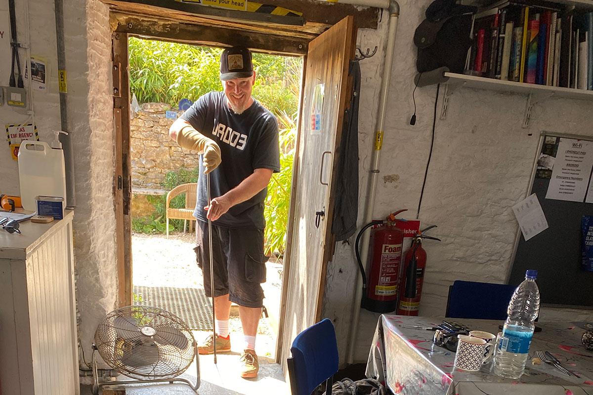 Ian Chadwick at the door of The Glass Hub studio