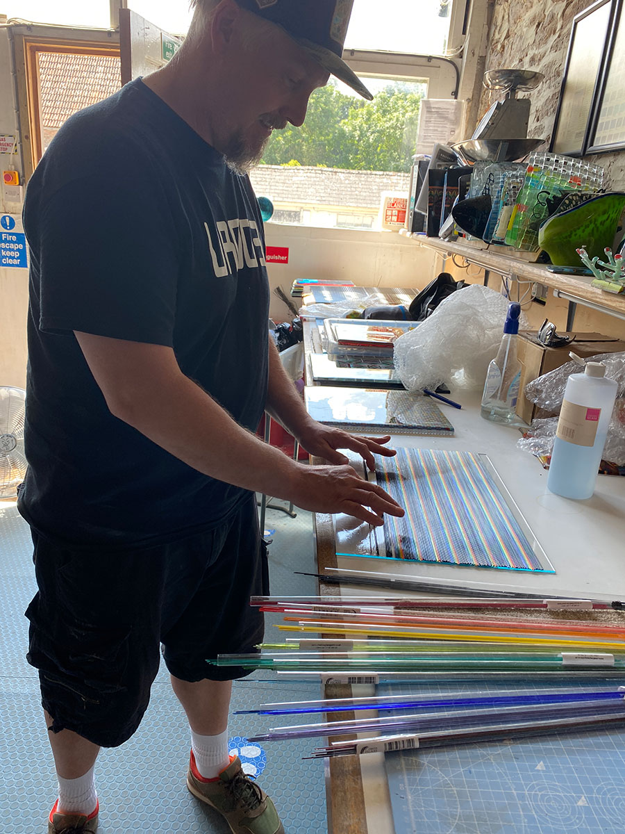 Ian Chadwick Residency, fused glass panels at The Glass Hub