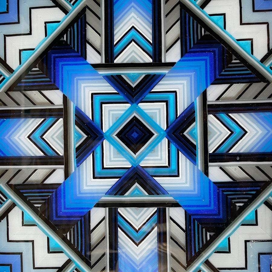 Ian Chadwick - fused glass mandala pattern panel