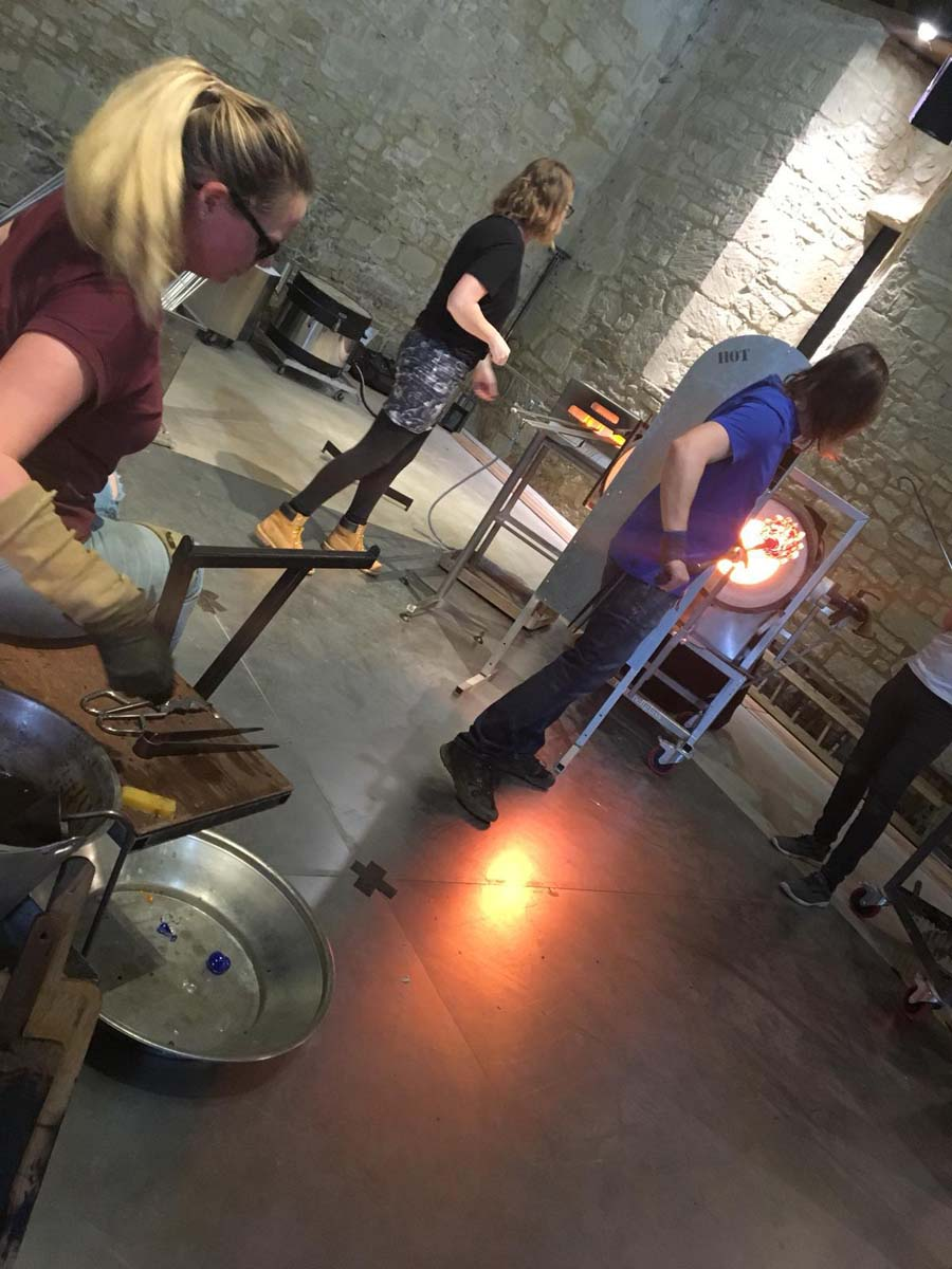Katie Huskie Demonstrates Glassblowing At Messums Wiltshire